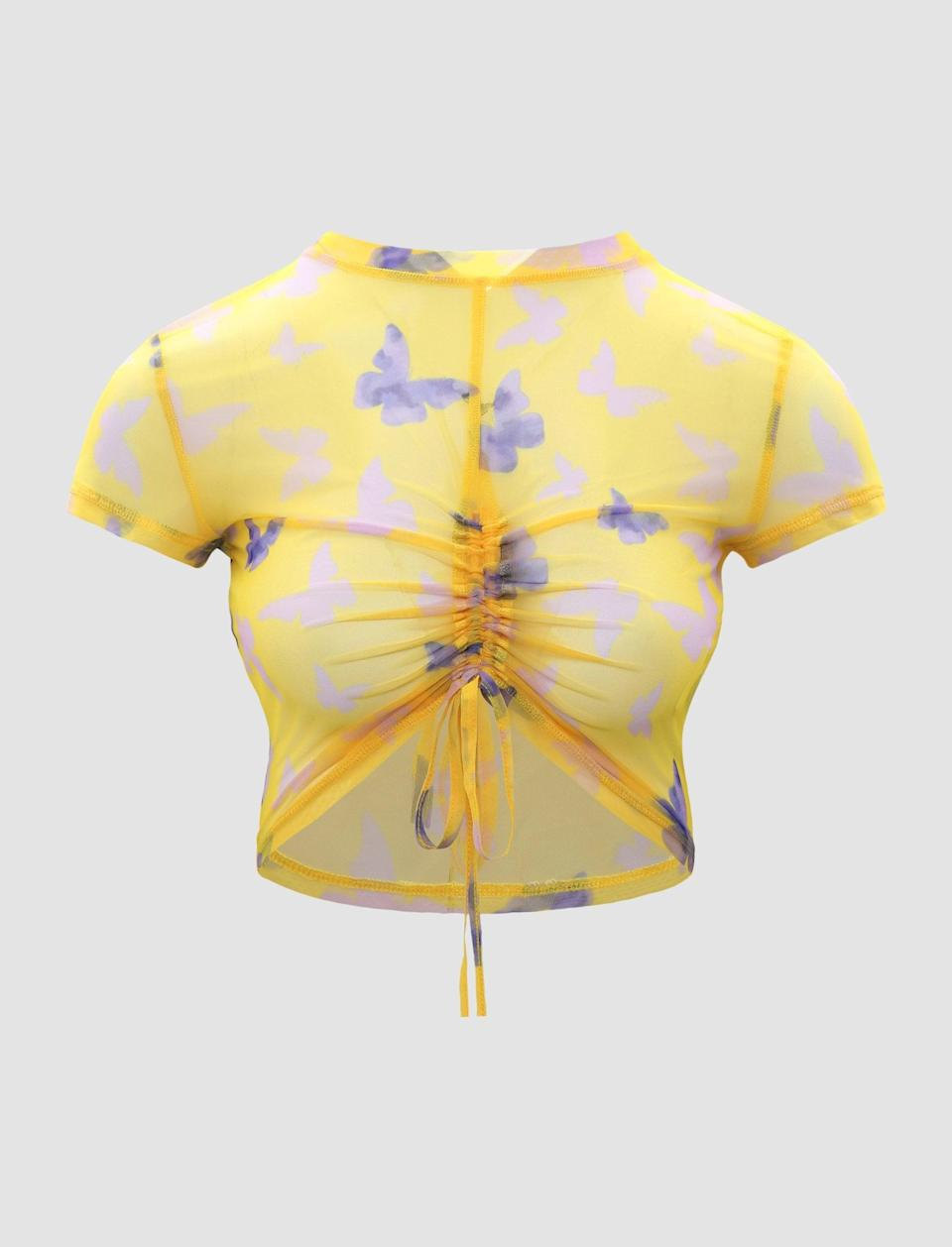 <p>Want to add a casual spin to this ultra-feminine trend? Try this <span>Cider Butterfly Ruched Crop Top</span> ($14) with baggy jeans.</p>