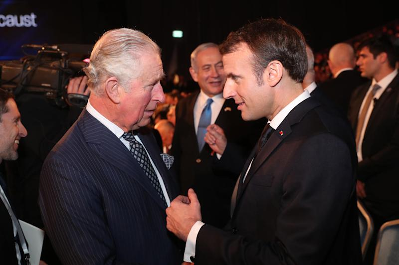 "JERUSALEM, ISRAEL - JANUARY 23: Prince Charles, Prince of Wales and French President Emmanuel Macron during the Fifth World Holocaust Forum on January 23, 2020 in Jerusalem, Israel. Heads of State gathering in Jerusalem to mark 75 years since the liberation of Auschwitz will be the ""largest diplomatic event in Israel's history,"" according to the country's Foreign Minister. (Photo by Pool/Getty Images)"