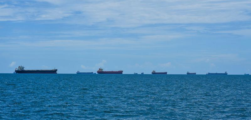Coal carrying freighters wait their turn to dock to fill up with coal at Dalrymple Bay Coal Terminal and Hay Point Coal Terminal in Queensland in January. Source: Getty