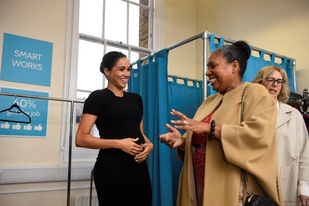 Meghan chats with Patsy Wardally, who is getting support from the charity.