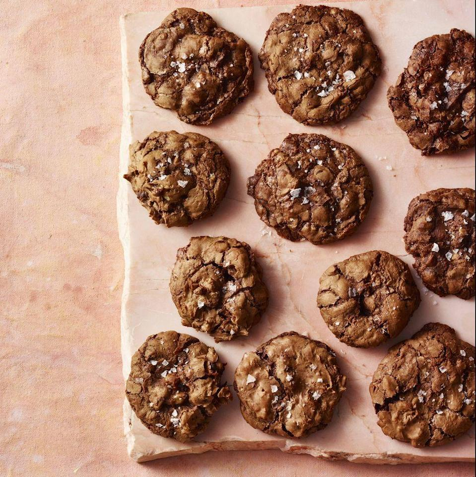 """<p>Without any flour, these chocolatey cookies are extra rich and chewy.</p><p><em><a href=""""https://www.prevention.com/food-nutrition/a30245974/chewy-chocolate-walnut-cookies-recipe/"""" rel=""""nofollow noopener"""" target=""""_blank"""" data-ylk=""""slk:Get the recipe from Prevention »"""" class=""""link rapid-noclick-resp"""">Get the recipe from Prevention »</a></em></p>"""