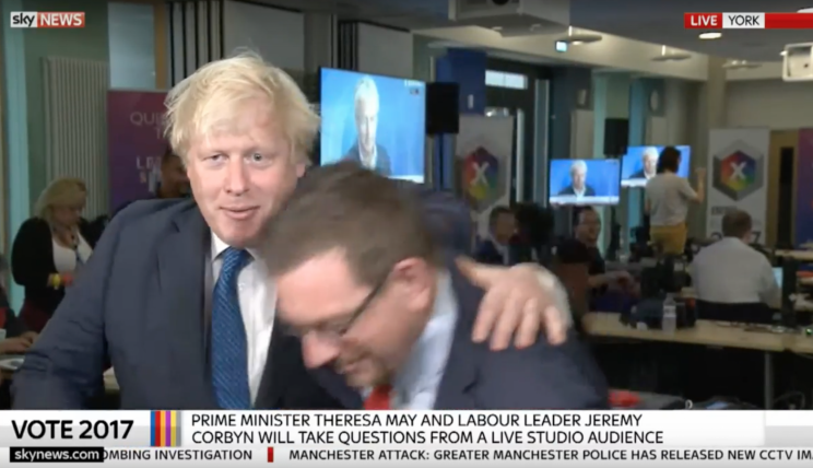 """Boris Johnson was branded a """"pillock"""" on live TV during a clash with Labour MP Andrew Gwynne that saw the Foreign Secretary appearing to shove his rival."""