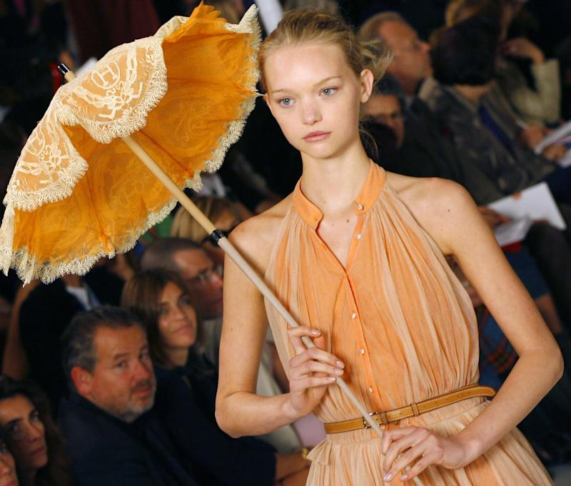 Gemma Ward walking the runway for the spring/summer 2006 Jean-Paul Gaultier for Hermès show during Paris Fashion Week.