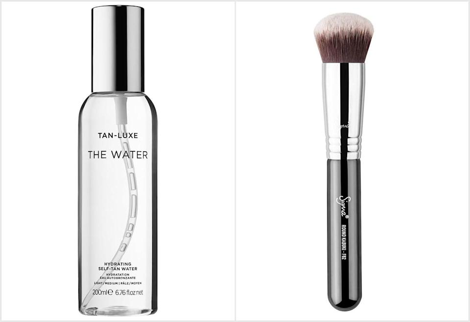 <p>DiMarchi's preferred application method uses the <span>Tan-Luxe The Water Hydrating Self-Tan Water</span> ($47) and a dense blending brush, like the <span>Sigma Beauty F82 Round Kabuki Brush</span> ($25). Lightly mist your hands with the tanning water, and use the brush to buff in the product using circular motions. Be sure to get around your fingers and the sides of your hands.</p>