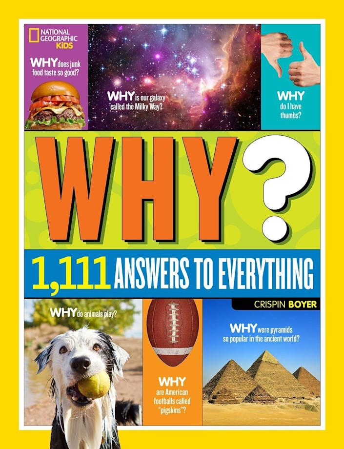 """The No. 1 question asked by all children is &ldquo;why?&rdquo;&nbsp; So why not give them all the answers with this &ldquo;<strong><a href=""""https://amzn.to/2XtXDsu"""" rel=""""nofollow noopener"""" target=""""_blank"""" data-ylk=""""slk:National Geographic Kids Why Book"""" class=""""link rapid-noclick-resp"""">National Geographic Kids Why Book</a>.</strong>""""&nbsp;It answers all their questions so you don&rsquo;t always have to. <strong><a href=""""https://amzn.to/2XtXDsu"""" rel=""""nofollow noopener"""" target=""""_blank"""" data-ylk=""""slk:Get it on Amazon"""" class=""""link rapid-noclick-resp"""">Get it on Amazon</a></strong>."""