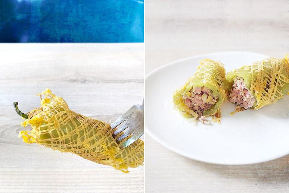 Stuffed sweet peppers ('prik yuak sot sai') are always wrapped in an egg lace.