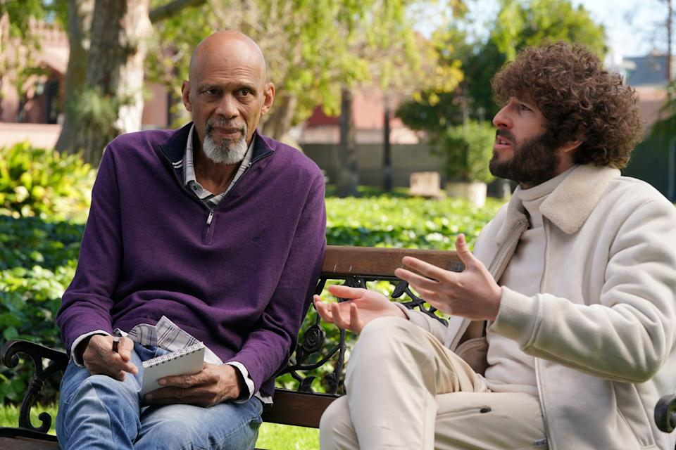 """NBA and college basketball legend Kareem Abdul-Jabbar, left, challenges Dave (Dave Burd) while interviewing him on FXX's """"Dave."""""""