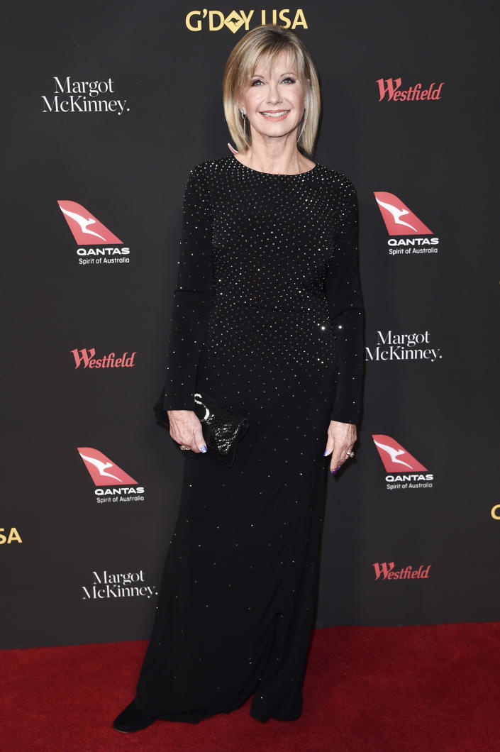 FILE - Olivia Newton-John attends the G'Day USA Los Angeles Gala on Jan. 27, 2018, in Los Angeles. Newton-John turns 72 on Sept. 26. (Photo by Richard Shotwell/Invision/AP, File)
