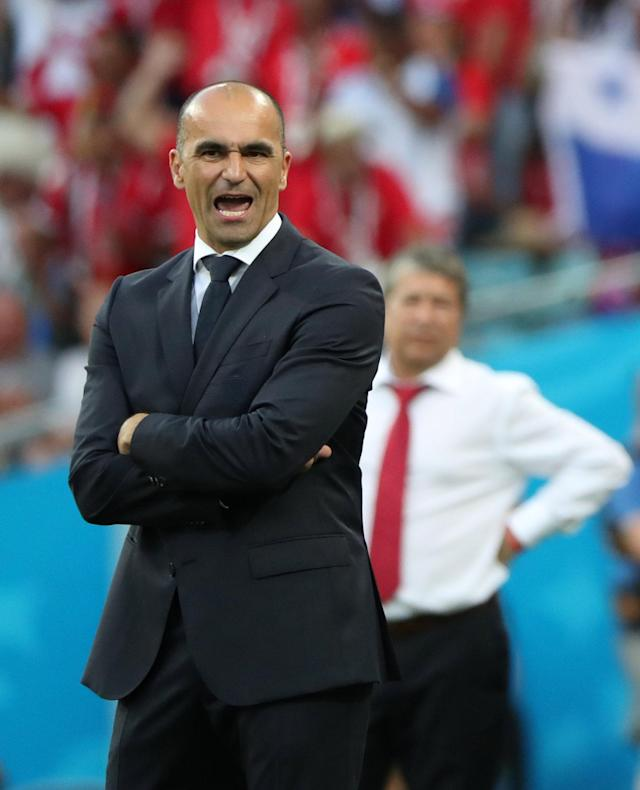 Soccer Football - World Cup - Group G - Belgium vs Panama - Fisht Stadium, Sochi, Russia - June 18, 2018 Belgium coach Roberto Martinez reacts REUTERS/Marcos Brindicci