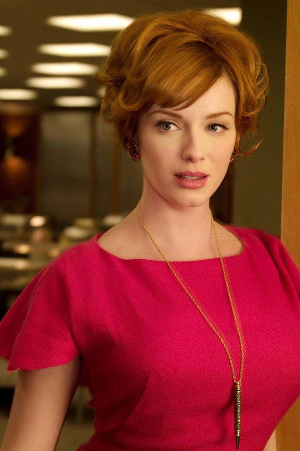 <p>Embrace the glamour of the 1950s by channelling Christina Hendricks' Mad Men character Joan Holloway whose colourful, form-fitting dresses and perfect updos makes her one of the best-dressed characters on TV. </p>