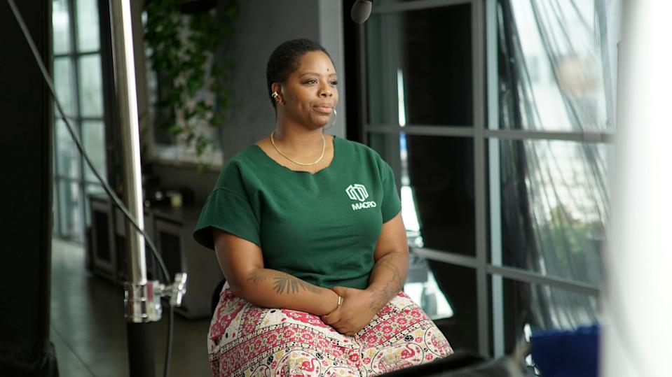 <p>Patrisse Cullors speaks during a PBS documentary</p> (ASSOCIATED PRESS)