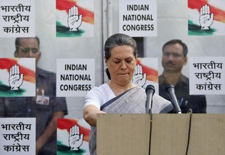 Congress party chief Sonia Gandhi speaks during a news conference in New Delhi