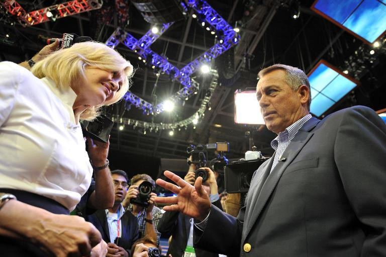 Speaker of the House of Representatives John Boehner (R) speaks with ABC News anchor Diane Sawyer during final preparations for the opening of the Republican National Convention on August 27, 2012