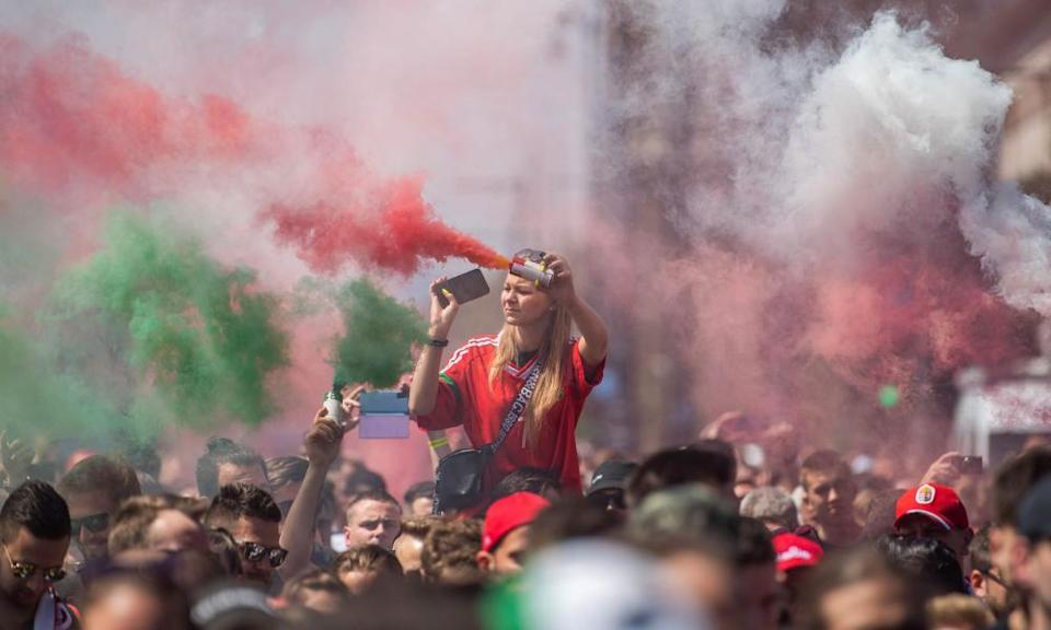 Hungary fans march towards the Puskas Arena on Tuesday.