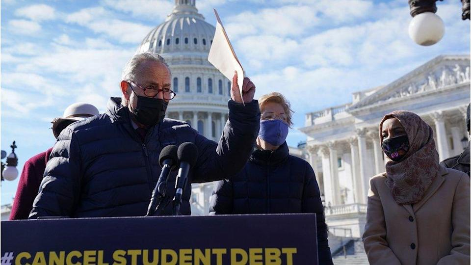 Senate Majority Leader Chuck Schumer (D-NY) holds a news conference to reintroduce a resolution to cancel up to $50,000 of student loan debt, at the Capitol in Washington, U.S., February 4, 2021.