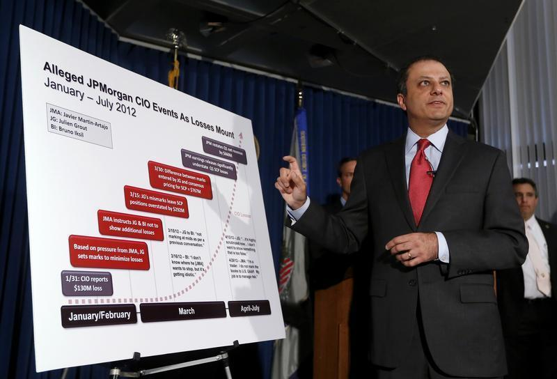 U.S. Attorney for Southern District of New York Bharara points to a chart during a news conference announcing unsealing of charges against two derivative traders Martin-Artajo and Grout in New York