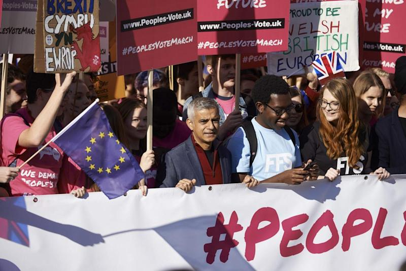 Mayor of London Sadiq Khan joins young voters at the start of the march (AFP/Getty Images)