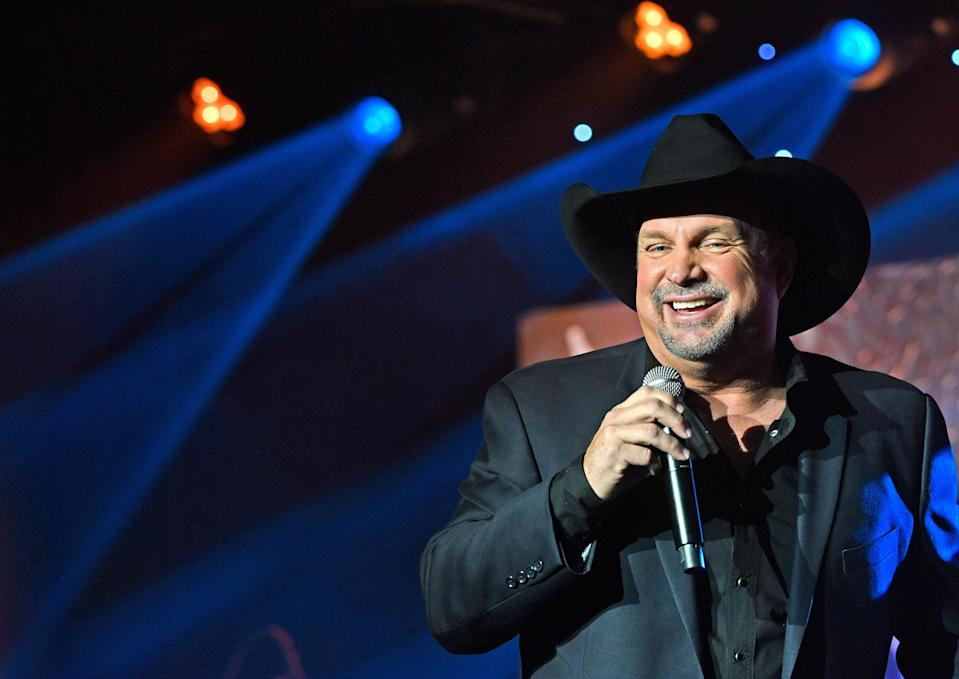 """Garth Brooks performed """"Forever and Ever, Amen"""" in tribute to country icon and ASCAP Founders Award recipient Randy Travis at the 57th annual ASCAP Country Music Awards Monday, Nov. 11, 2019, in Nashville, Tenn."""