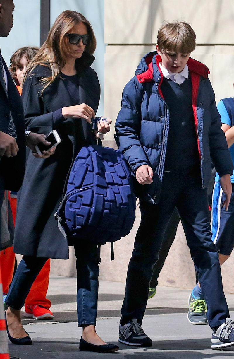 Melania picks up her son, Barron, from school, in New York, in 2016.