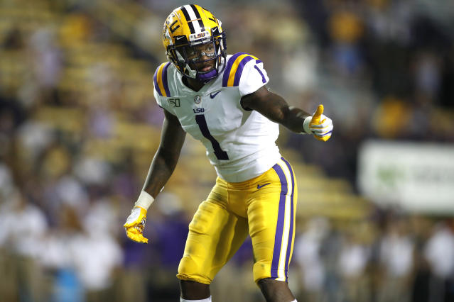 FILE - In this Aug. 31, 2019, file photo, LSU cornerback Kristian Fulton (1) gestures during an NCAA football game against Georgia Southern in Baton Rouge, La. Fulton is a possible pick at the NFL Draft which runs Thursday, April 23, 2020 thru Saturday, April 25. (AP Photo/Tyler Kaufman, File)