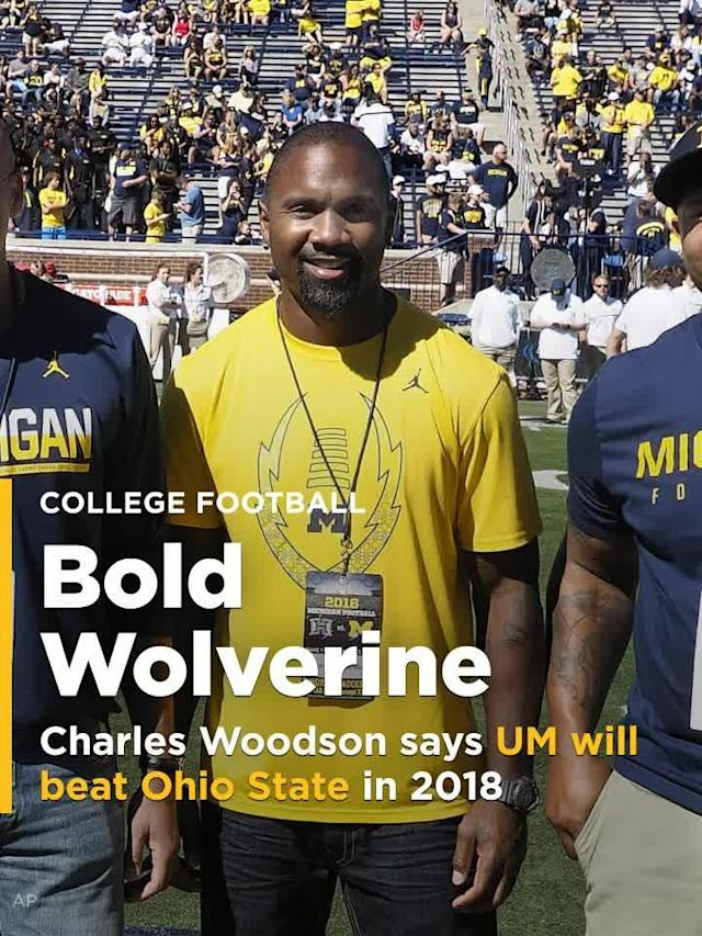 Former Michigan defensive back and Heisman Trophy winner Charles Woodson spoke at Michigan's commencement ceremony on Saturday and guaranteed a win over the Buckeyes when the two teams meet in November of 2018.