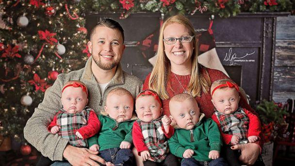 photo briana and jordan driskell pose with their 6 month old quintuplets during - What To Get A 6 Month Old For Christmas