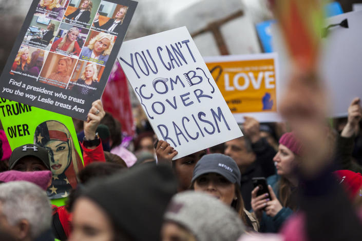 <p>Protesters attend the Women's March on Washington on Jan. 21, 2017, in Washington, D.C. (Jessica Kourkounis/Getty Images) </p>