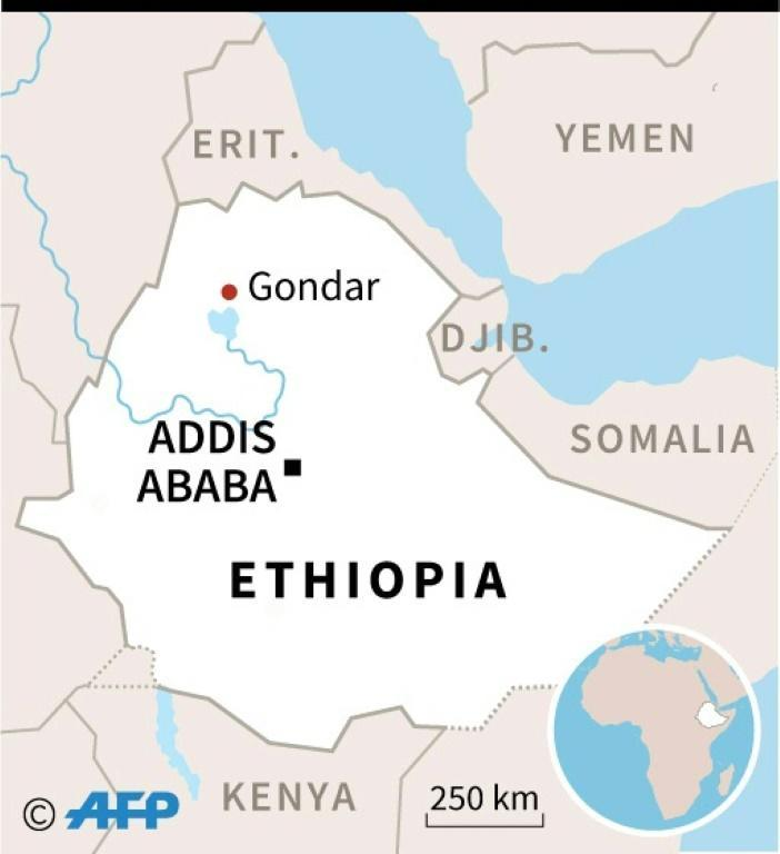 Map of Ethiopia locating fatal accident in Gondar (AFP Photo/)