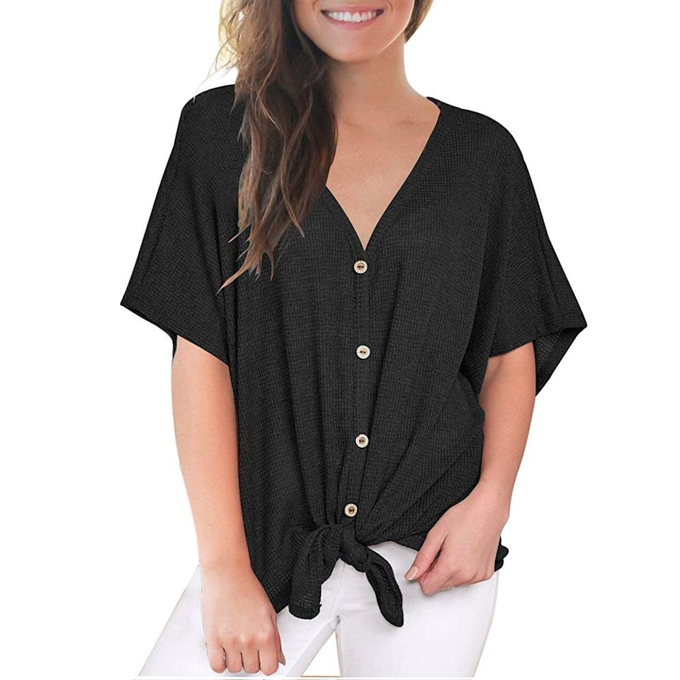 The Miholl Tie-Front Blouse goes with everything. (Photo: Amazon)