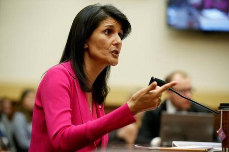 U.S. Ambassador to the United Nations Nikki Haley testifies to the House Foreign Affairs Committee in Washington