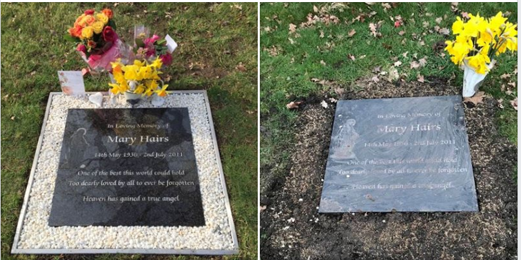 Before (left) and after (right). Council workers removed fresh flowers and ornamental borders on graves, citing health and safety regulations (Mary Crocker/Facebook)