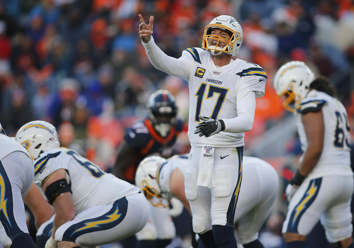 Los Angeles Chargers quarterback Philip Rivers has experienced many bad beats, including one Sunday. (Photo by Russell Lansford/Icon Sportswire via Getty Images)