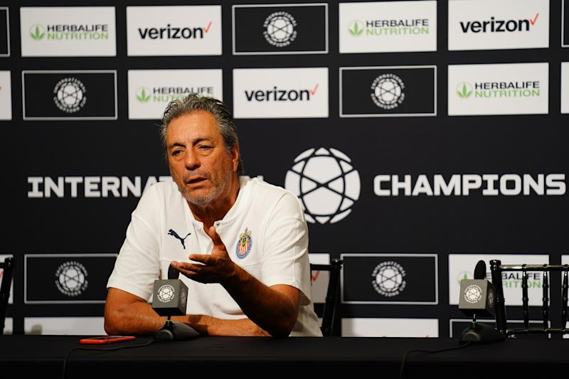 SANTA CLARA, CALIFORNIA - JULY 20: Chivas de Guadalajara manager Tomás Boy speaks to members of the media following their game 3-0 loss to Benfica in the 2019 International Champions Cup at Levi's Stadium on July 20, 2019 in Santa Clara, California. (Photo by Daniel Shirey/International Champions Cup/Getty Images)
