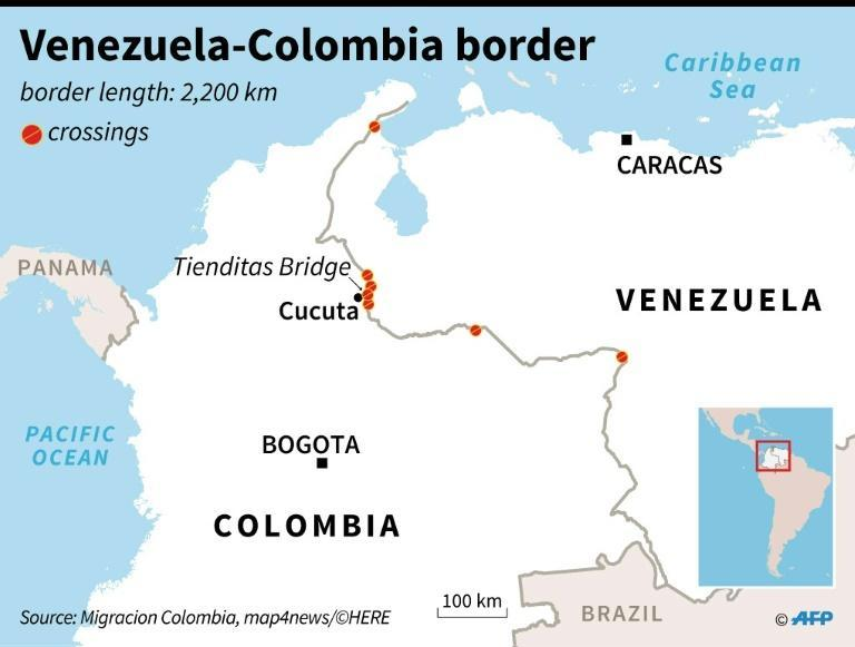 Map of Venezuela's border with Colombia, showing border crossings