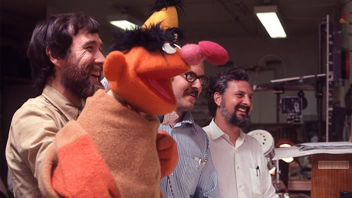 Jim Henson and Frank Oz model Bert and Ernie puppets in 'Street Gang: How We Got to Sesame Street' (Photo by Robert Fuhring/Courtesy Sundance Institute)