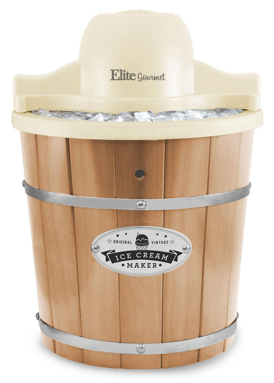 """<p><strong>Elite Gourmet</strong></p><p>walmart.com</p><p><strong>$81.24</strong></p><p><a href=""""https://go.redirectingat.com?id=74968X1596630&url=https%3A%2F%2Fwww.walmart.com%2Fip%2F324684230&sref=https%3A%2F%2Fwww.thepioneerwoman.com%2Ffood-cooking%2Fg36080315%2Fbest-ice-cream-makers%2F"""" rel=""""nofollow noopener"""" target=""""_blank"""" data-ylk=""""slk:Shop Now"""" class=""""link rapid-noclick-resp"""">Shop Now</a></p><p>If you're hosting an ice cream social, this is the pick for you. And even though this is an electric ice cream maker, its design gives a fun nostalgic feel. </p>"""
