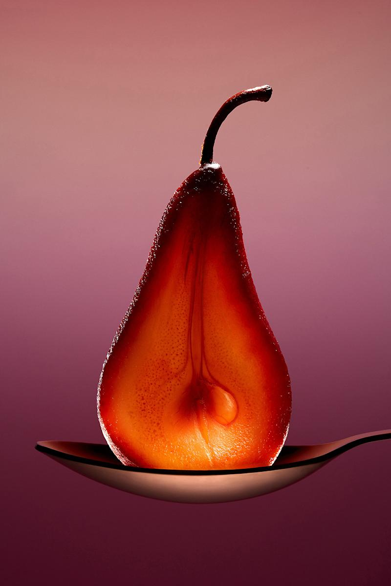 Food Photo Affair Best in Exhibition winner, poached pear, by Jill Keller
