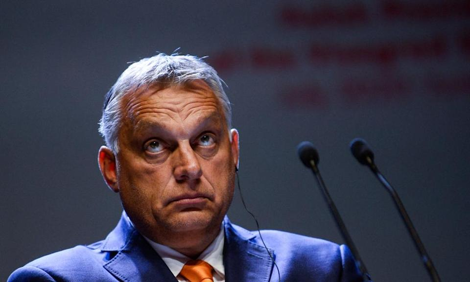 Viktor Orban takes part on a press conference in Lublin, Poland, September 2020.