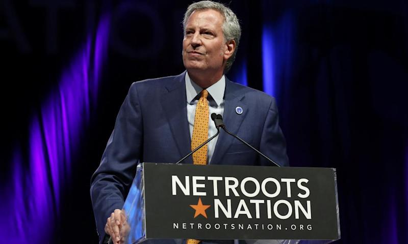 Bill de Blasio speaks at the Netroots Nation annual conference in New Orleans, Louisiana, on 4 August.