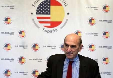 U.S. Venezuela envoy Elliott Abrams arrives for a news conference at U.S. Embassy in Madrid, Spain, April 11, 2019. REUTERS/Sergio Perez