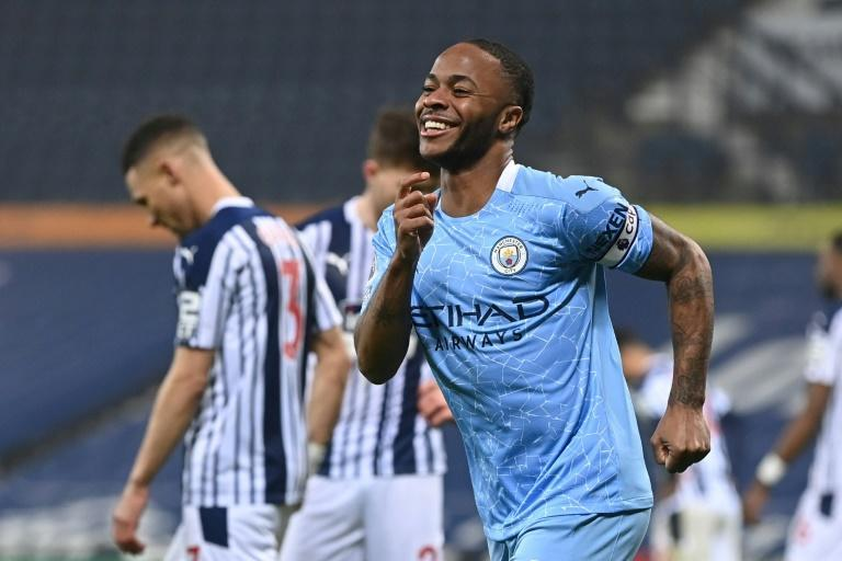 Smiling Sterling: Raheem Sterling scored Manchester City's fifth goal in a 5-0 rout of West Brom