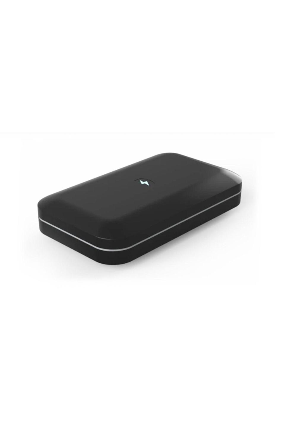 """<p><strong>PhoneSoap</strong></p><p>phonesoap.com</p><p><strong>$79.95</strong></p><p><a href=""""https://go.redirectingat.com?id=74968X1596630&url=https%3A%2F%2Fwww.phonesoap.com%2Fproducts%2Fphonesoap-3-phone-uv-sanitizer&sref=https%3A%2F%2Fwww.cosmopolitan.com%2Fstyle-beauty%2Ffashion%2Fg27349308%2Fnew-dad-gift-ideas%2F"""" rel=""""nofollow noopener"""" target=""""_blank"""" data-ylk=""""slk:Shop Now"""" class=""""link rapid-noclick-resp"""">Shop Now</a></p><p>Help him avoid a sick day (new baby = <a href=""""https://www.vox.com/2016/8/31/12714028/why-parents-kids-get-sick-viruses"""" rel=""""nofollow noopener"""" target=""""_blank"""" data-ylk=""""slk:more germs"""" class=""""link rapid-noclick-resp"""">more germs</a>) with a sanitizing device for his phone. The UV light kills almost all bacteria and it also doubles as a charger. </p>"""