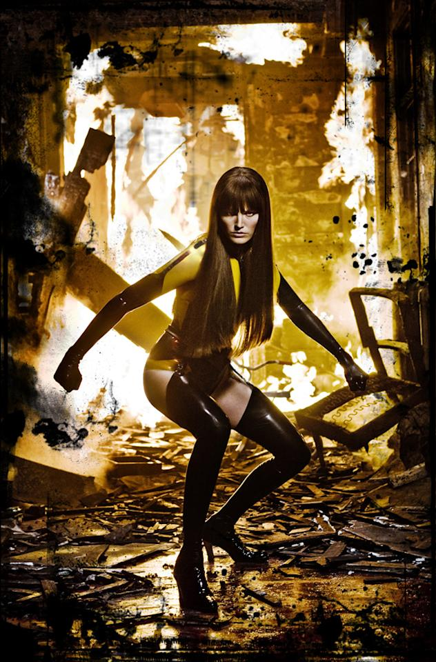 """<a href=""""http://movies.yahoo.com/movie/contributor/1808422842"""">Malin Akerman</a> as Laurie Juspeczyk, aka Silk Spectre, in Warner Bros. Pictures' <a href=""""http://movies.yahoo.com/movie/1808406490/info"""">Watchmen</a> - 2009"""