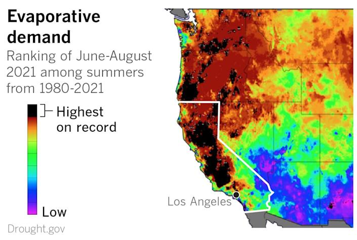 Map of the U.S. West shows much of the region with summer evaporative demand being among the highest on record
