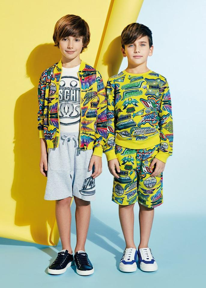<p>Braver children will fall in love with Moschino's out-there collection. Loud cartoon slogans and sequin hearts are available for babies and children up to 14 years. Cutesier looks featuring the Moschino teddy are also up for grabs. From £35 to £200.<br /><i>[Photo: Moschino]</i> </p>