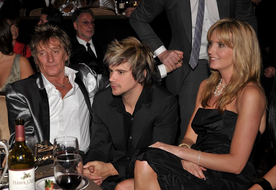 BEVERLY HILLS, CA - FEBRUARY 09:  Musician Rod Stewart, Sean Stewart and Penny Lancaster during the 2008 Clive Davis Pre-GRAMMY party at the Beverly Hilton Hotel on February 9, 2008 in Los Angeles, California.  (Photo by Lester Cohen/WireImage)