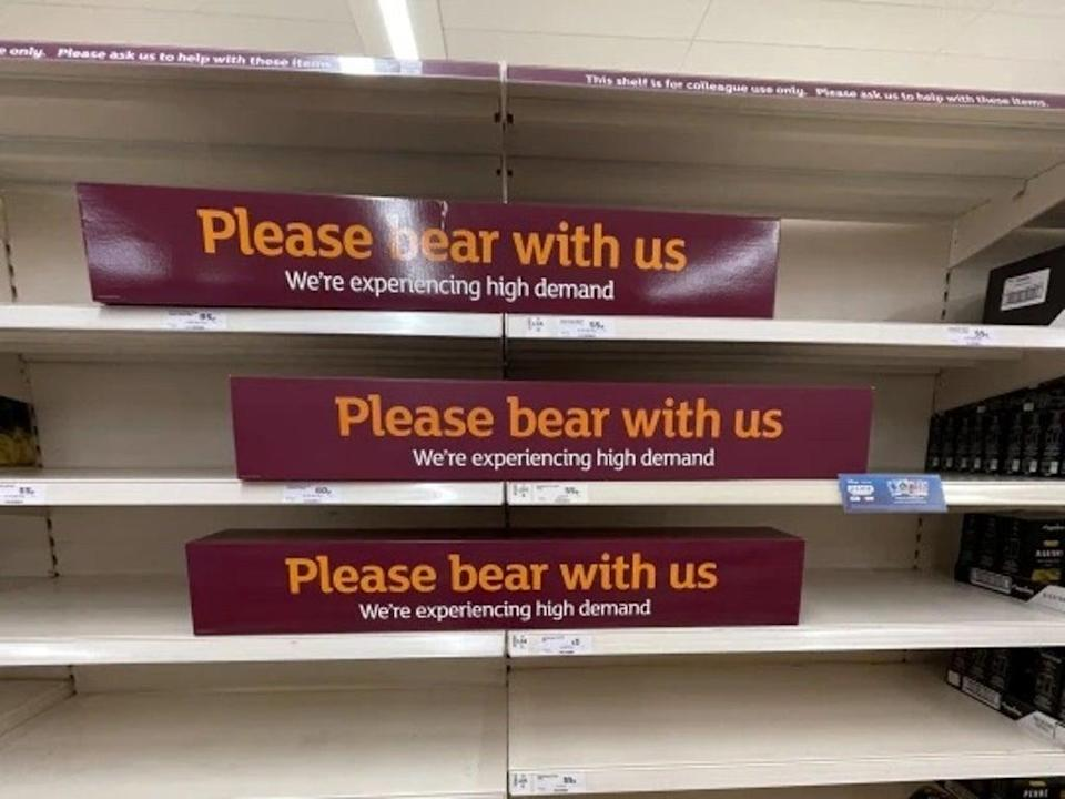 Empty shelves in Camberley Sainsbury's, Surrey (SWNS)