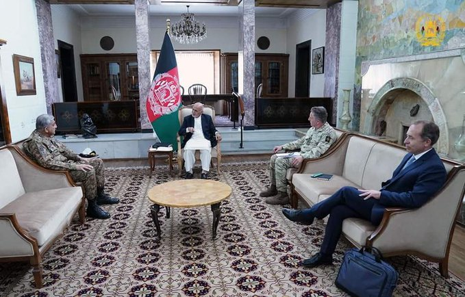 <p>Ashraf Ghani, second left, and General Sir Nick Carter, second right</p> (Afghan government)