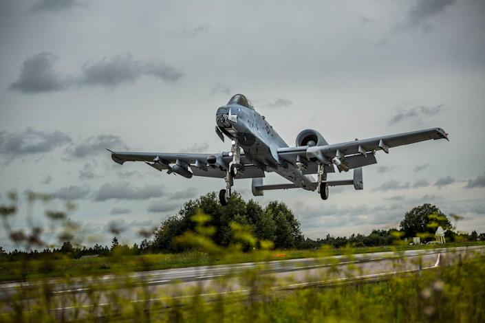 US A-10 aircraft landing on a highway in Estonia during exercise.