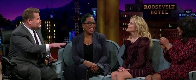 James Corden was so impressed by Oprah, he testes Reese' skills too. Source: CBS
